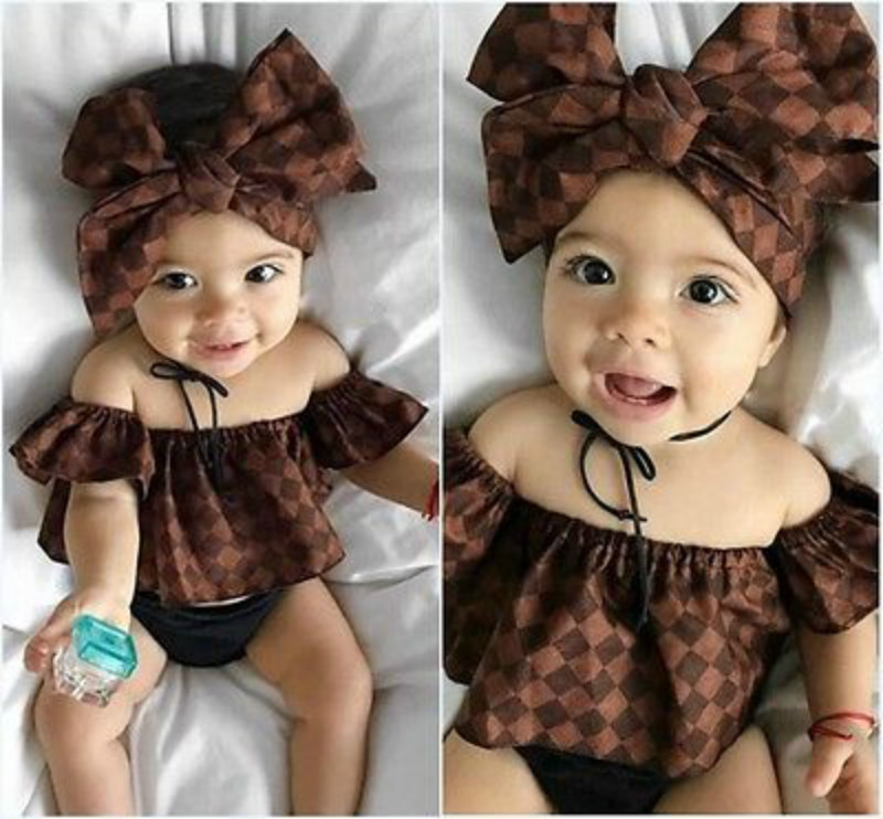 2017 Cotton Newborn Infant Baby Girls Off Shoulder Tops + Headband + Shorts 3PCS Kids Summer Clothes Set Outfit Sunset 0-2T