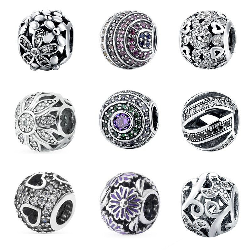 Real 925 Original Silver Round Charm Beads With Colour CZ Charms Antique Beads Fit Authentic European Bracelets Jewelry