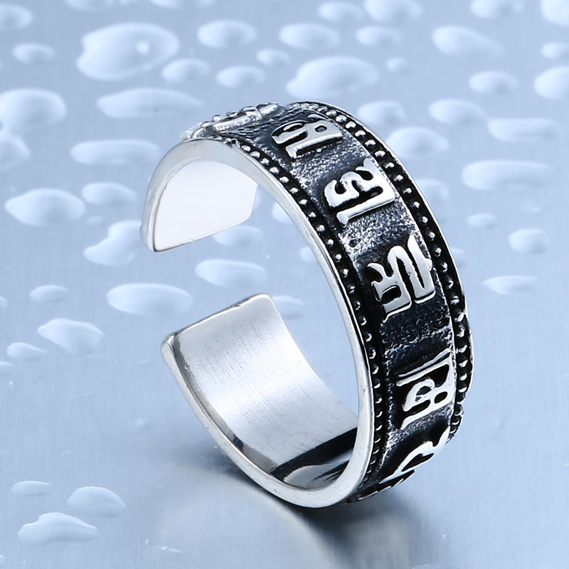 BEIER Stainless Steel Men Buddhist Sutra Ring High Quality Opening Ring 316l Stainless Steel Jewelry BR8-368